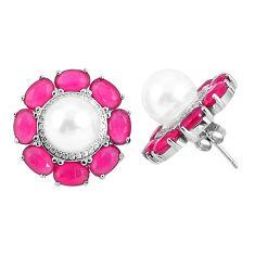 White pearl ruby quartz 925 sterling silver stud earrings jewelry c19606
