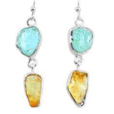 11.57cts yellow citrine quartz 925 silver dangle handmade earrings r74286
