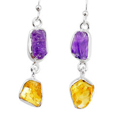 10.70cts yellow citrine raw amethyst raw silver dangle handmade earrings r74395
