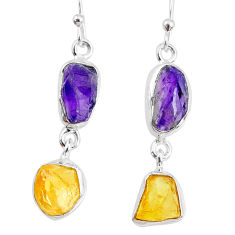 10.28cts yellow citrine raw amethyst raw silver dangle handmade earrings r74398