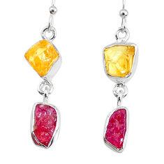 8.95cts yellow citrine raw ruby raw 925 silver dangle handmade earrings r74371