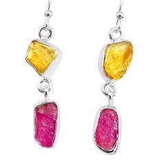 9.25cts yellow citrine raw ruby raw 925 silver dangle handmade earrings r74372