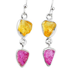 8.95cts yellow citrine raw ruby raw 925 silver dangle handmade earrings r74374