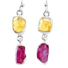 8.95cts yellow citrine raw ruby raw 925 silver dangle handmade earrings r74378
