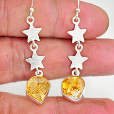 9.34cts yellow citrine raw 925 silver crescent moon star earrings r89941