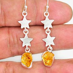 8.42cts yellow citrine raw 925 silver crescent moon star earrings r89942