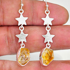 8.92cts yellow citrine raw 925 silver crescent moon star earrings r89958