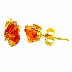 4.86cts yellow citrine raw 14k gold handmade stud earrings t7473