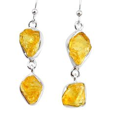 13.50cts yellow citrine raw 925 silver dangle handmade earrings jewelry r74383