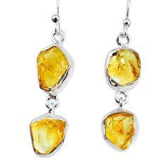 13.36cts yellow citrine raw 925 silver dangle handmade earrings jewelry r74385