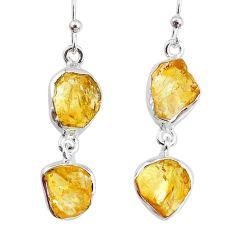 12.63cts yellow citrine raw 925 silver dangle handmade earrings jewelry r74386
