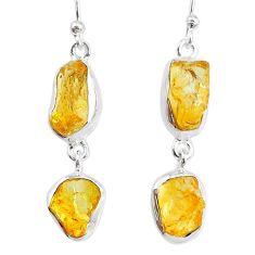 13.50cts yellow citrine raw 925 silver dangle handmade earrings jewelry r74391