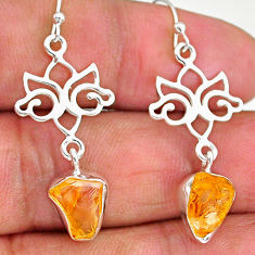 9.41cts yellow citrine raw 925 sterling silver dangle earrings jewelry r89945