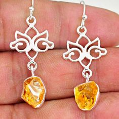 8.67cts yellow citrine raw 925 sterling silver dangle earrings jewelry r89948