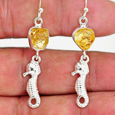 9.38cts yellow citrine raw 925 sterling silver dangle earrings jewelry r89953