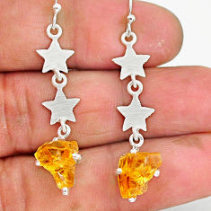 6.30cts yellow citrine rough 925 sterling silver dangle earrings jewelry r90741