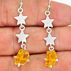 5.91cts yellow citrine raw 925 sterling silver dangle earrings jewelry r90742
