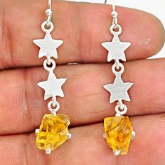 6.81cts yellow citrine raw 925 sterling silver dangle earrings jewelry r90743