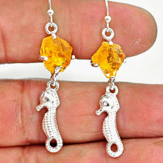 7.74cts yellow citrine raw 925 sterling silver dangle earrings jewelry r90746