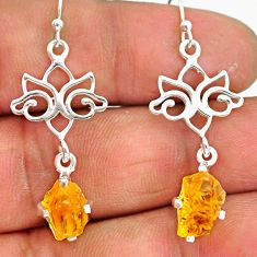 6.97cts yellow citrine rough 925 sterling silver dangle earrings jewelry r90747