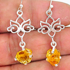 6.78cts yellow citrine raw 925 sterling silver dangle earrings jewelry r90748