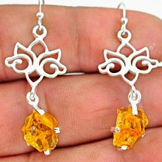 7.52cts yellow citrine raw 925 sterling silver dangle earrings jewelry r90757
