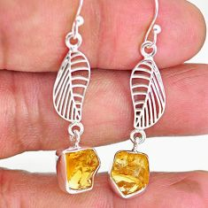 9.87cts yellow citrine raw 925 sterling silver deltoid leaf earrings r89944