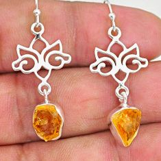 9.41cts yellow citrine raw 925 sterling silver deltoid leaf earrings r89947