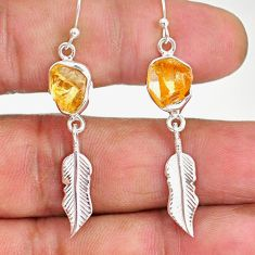 8.67cts yellow citrine raw 925 sterling silver deltoid leaf earrings r89949
