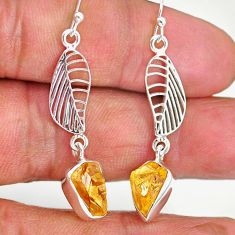 9.41cts yellow citrine raw 925 sterling silver deltoid leaf earrings r89950
