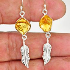 10.30cts yellow citrine rough 925 sterling silver deltoid leaf earrings r89952
