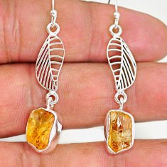 9.59cts yellow citrine raw 925 sterling silver deltoid leaf earrings r89957