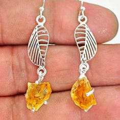 7.57cts yellow citrine raw 925 sterling silver deltoid leaf earrings r90749