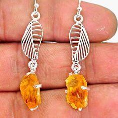 8.49cts yellow citrine raw 925 sterling silver deltoid leaf earrings r90754