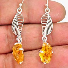 7.52cts yellow citrine rough 925 sterling silver deltoid leaf earrings r90755