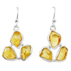 14.63cts yellow citrine raw 925 silver handmade earrings r73012
