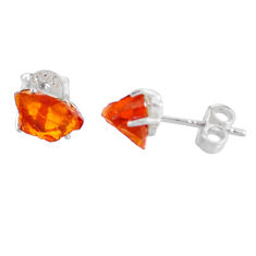 4.09cts yellow citrine raw 925 sterling silver stud earrings jewelry r70435
