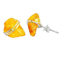 7.19cts yellow citrine raw 925 sterling silver stud earrings jewelry r79734