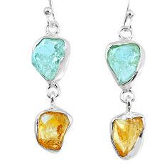 10.79cts yellow citrine raw aquamarine rough dangle handmade earrings r74283