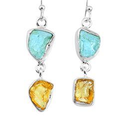 11.25cts yellow citrine raw aquamarine rough dangle handmade earrings r74287