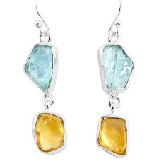 12.63cts yellow citrine raw aquamarine rough 925 silver dangle earrings r93672