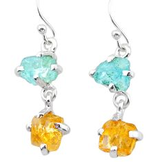 8.48cts yellow citrine rough aquamarine raw 925 silver dangle earrings t25652