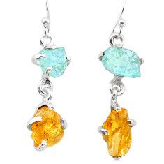 9.59cts yellow citrine rough aquamarine raw 925 silver dangle earrings t25654