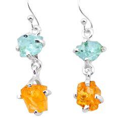 9.49cts yellow citrine rough aquamarine raw 925 silver dangle earrings t25655