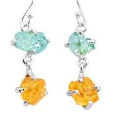 10.48cts yellow citrine rough aquamarine raw 925 silver dangle earrings t25658