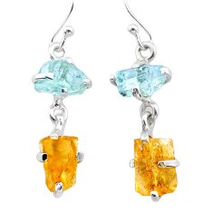 9.59cts yellow citrine rough aquamarine raw 925 silver dangle earrings t25660