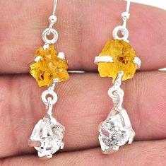 10.88cts yellow citrine raw herkimer diamond 925 silver dangle earrings t15293