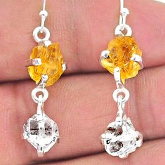 11.04cts yellow citrine raw herkimer diamond 925 silver dangle earrings t15294