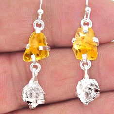 9.96cts yellow citrine raw herkimer diamond 925 silver dangle earrings t15296