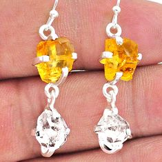 11.53cts yellow citrine raw herkimer diamond 925 silver dangle earrings t15297